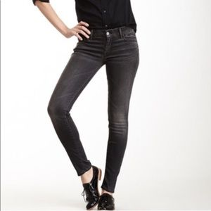 Mother the looker gray high rise skinny jeans